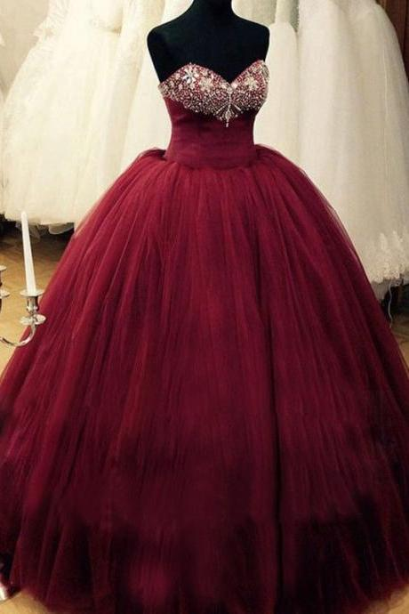 Romantic Burgundy Quinceanera Dresses Sweetheart Beaded Tulle Puffy Formal Prom