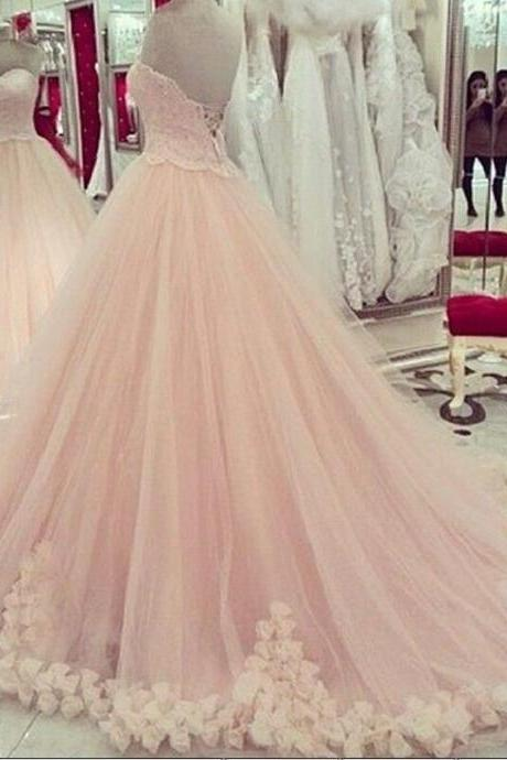 Romantic Pink Prom Pageant Dresses Sweetheart Low Back Sweep Handmade Flowers