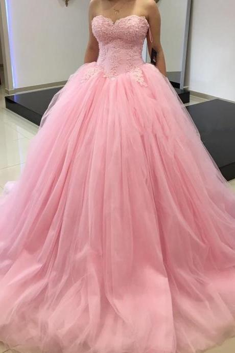 pink quinceanera dresses,ball gowns quinceanera dresses 2016 Tulle Sweetheart Applique