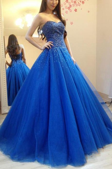 Cheap A-Line Quinceanera Dresses ,Long prom dresses 2017,Sparkly Heavy Beaded