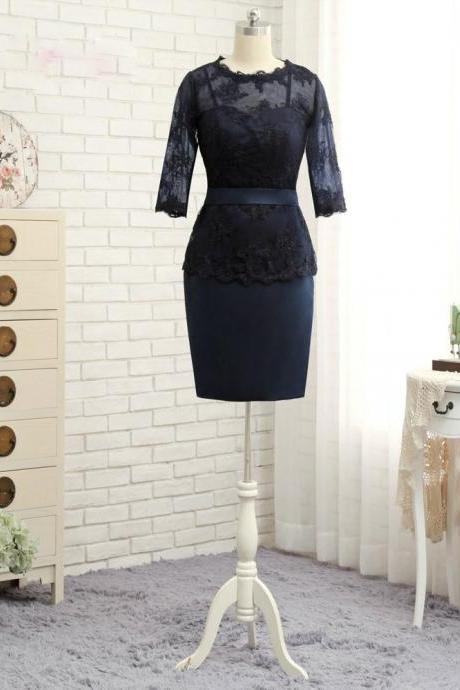 Brilliant Navy Blue 2017 Mother Of The Bride Dresses Sheath 3/4 Sleeves