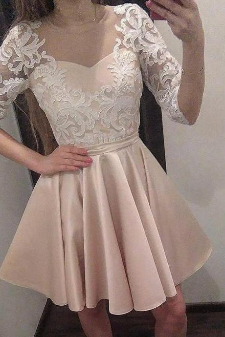 Half Ivory Lace Sleeves Champagne Satin Homecoming Dress Short Prom Gowns