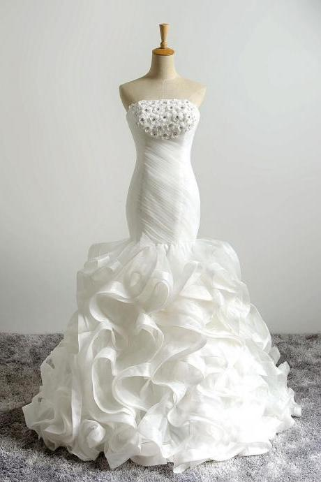 Ivory Floor Length Ruffle Trumpet Wedding Dress Featuring Ruched Strapless Bodice with Floral