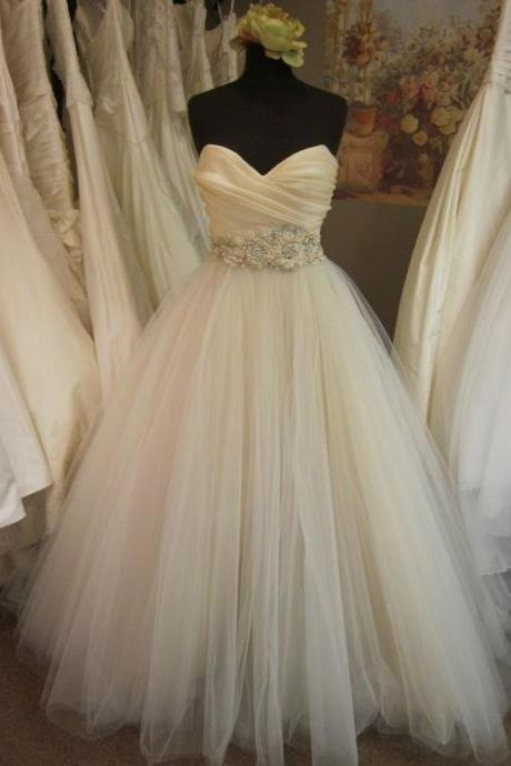 Wedding Dress with Embellished Waist A-line/Princess Pleated Bodice Blush
