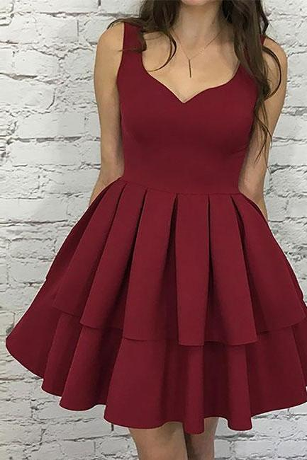 Cute homecoming dress,burgundy homecoming dress,short prom dress
