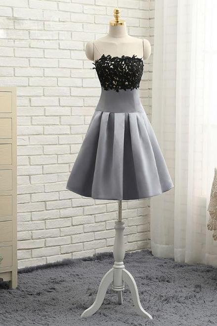 Gray 2017 Homecoming Dresses A-line Strapless Knee Length