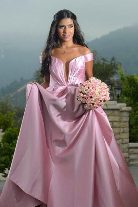 Sexy Pleated Deep V Neck Off Shoulder Satin Prom Dresses Long 2018