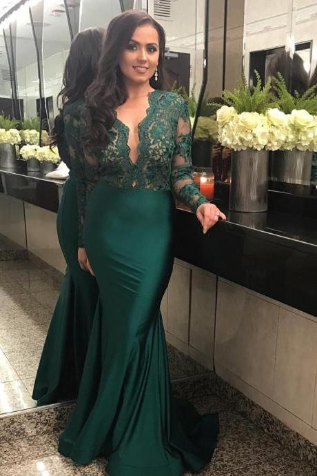 Hunter Green V Neck Mermaid Satin Evening Dresses with Lace Long Sleeves