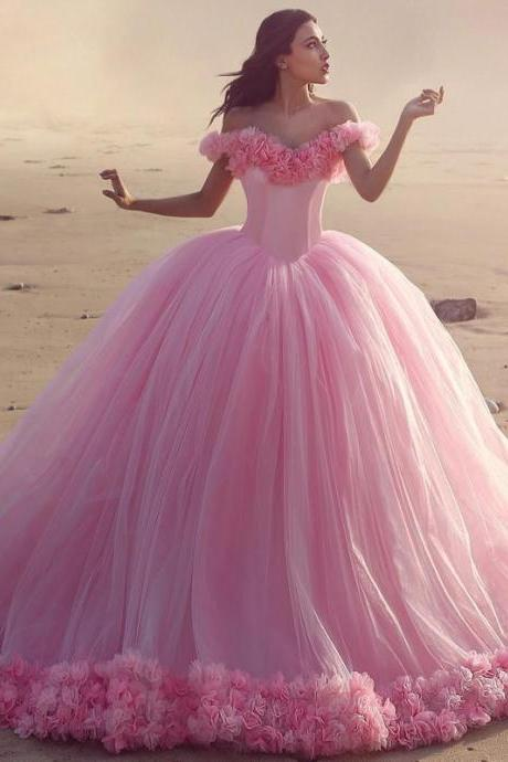 Off The Shoulder Tulle Flower Quinceanera Dresses Ball Gowns 2018