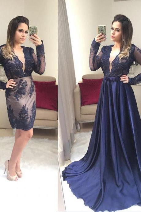 Navy Blue Deep V Neck Evening Dress with Removable Skirt and Long Sleeves