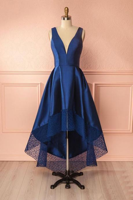 Dark Blue A Line Satin Lace V Neck High-low Bridesmaid Dress,Simple Prom Dresses