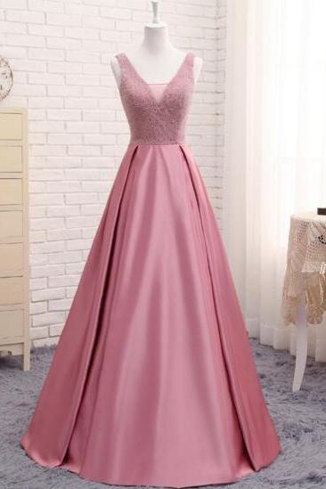 Pink Crystal Beaded Party Prom Evening Dress Backless Long 2017