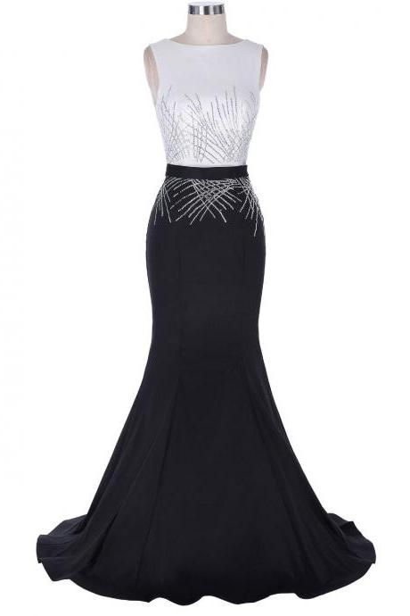Black and White Bateau Sleeveless Mermaid Long Prom Dress, Evening Dress Featuring V Back