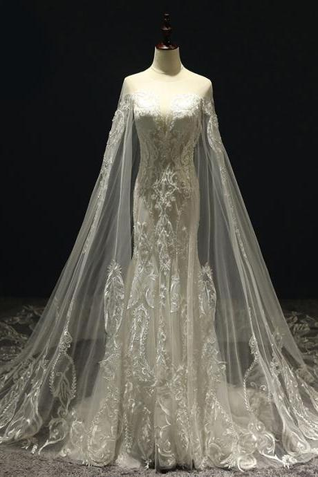 Luxury Wedding Dresses with Cape Sexy Transparent V Neck Lace Beaded Tulle Bridal Dress Wedding Gown Custom Made