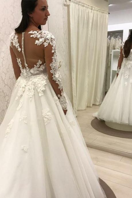 A-line White Wedding Dress With Long Sleeves