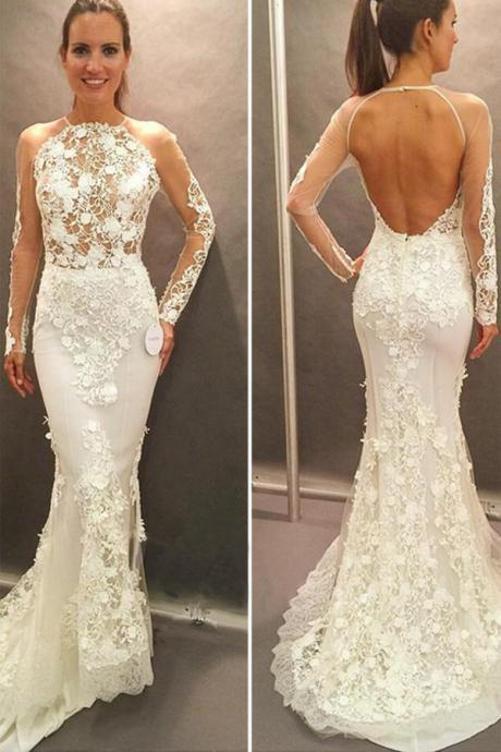 Appliques Wedding Dress,Open Back Wedding Gown,Court Train Wedding Dress,Mermaid Wedding Dresses
