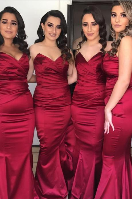Strapless Bridesmaid Dress,Satin Evening Gowns,Burgundy Bridesmaid Dress,Long Mermaid Gowns