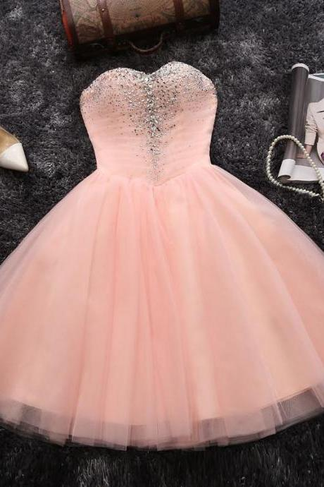 Pink A-line Sweetheart Short Prom Dress Juniors Homecoming Dress