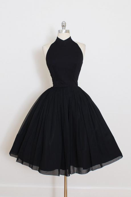 Black Ruffles Knee-length Haltered A lines Open Back Sleeveless