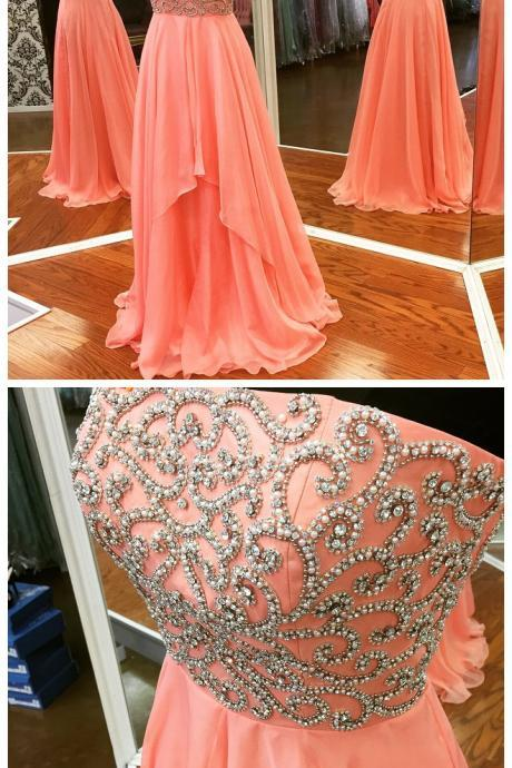 Plus Size Chiffon Long Prom Dresses Beaded Strapless Formal Dresses Evening Party Gown Graduation Dresses