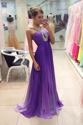 A-line Straps Prom Dress Chiffon Prom Dresses/Evening Dress