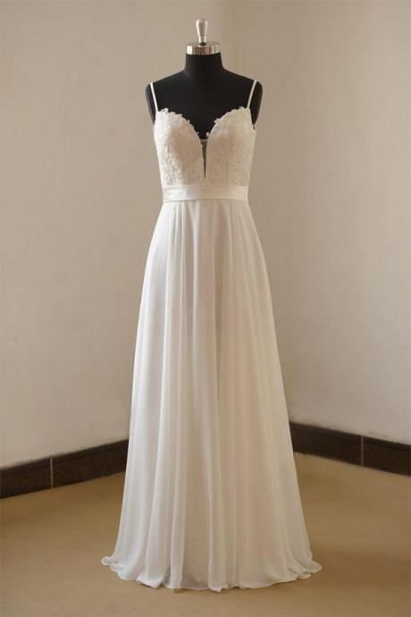 Spaghetti Straps Wedding Dress,Long Wedding Dresses,White Bridal Dresses,Chiffon Wedding Dresses