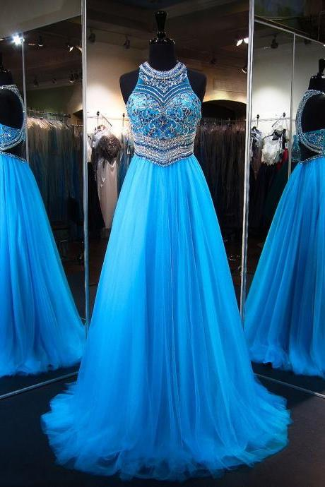 Princess Scoop Neck Tulle Sweep Train Crystal Detailing Blue Prom Dresses