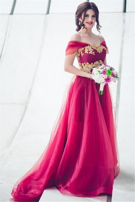 Tulle Off-the-Shoulder Prom Dress,Appliques A-line Bridesmaid Dress