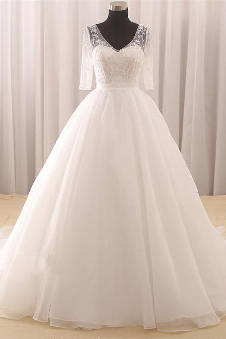 Half-Sleeve Wedding Dress, Beading Wedding Dress, Tulle Wedding Dress, V-Neck Wedding Dress