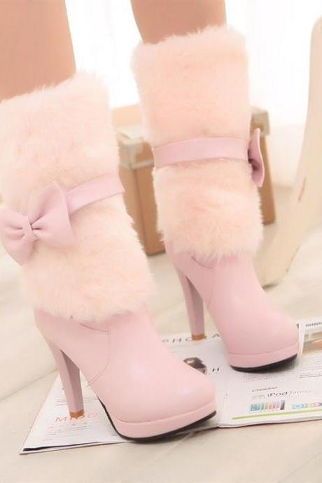Simply Adorable Pastel Pink Bow Knot High Heel Winter Boots