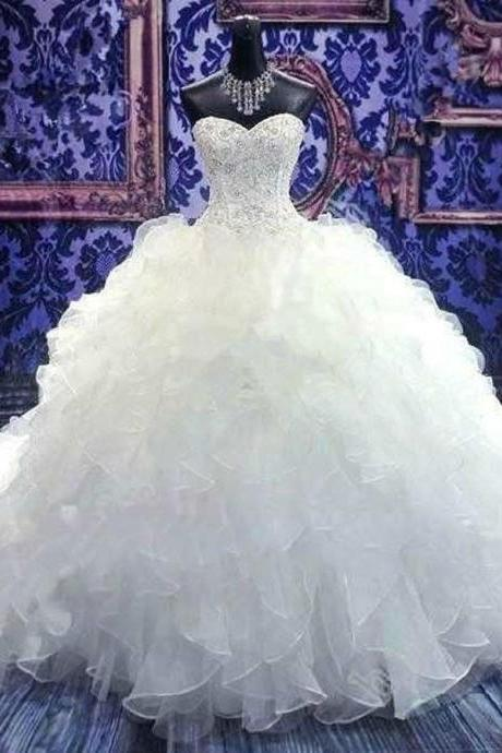 White/Ivory Strapless Organza Beading Wedding Dress Bridal Gown