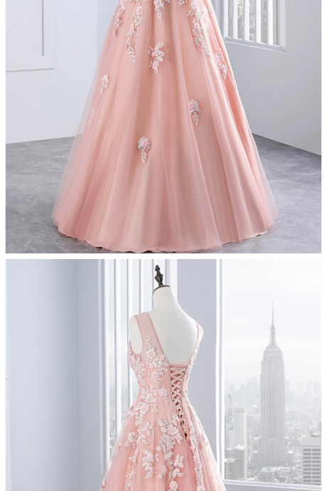 Party Tulle Appliques A Line Women Beautiful Prom Formal Evening Gown Dress for Wedding