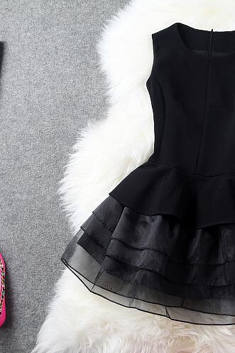 Organza cake skirt temperament of cultivate one's morality show thin black dress