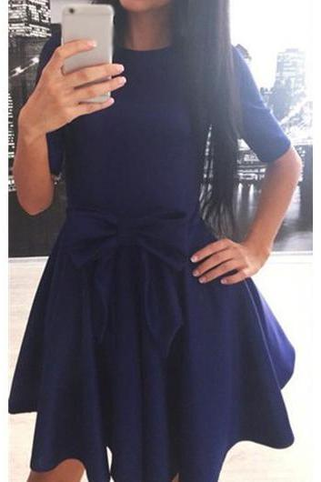 Navy Blue Bowknot Decorated Skater Dress