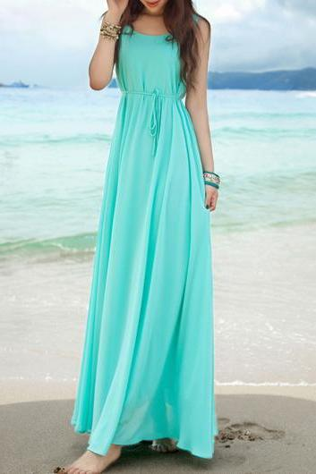 Fashion New Round Neck Empire Waist Maxi Chiffon Beach Dress - Light Blue