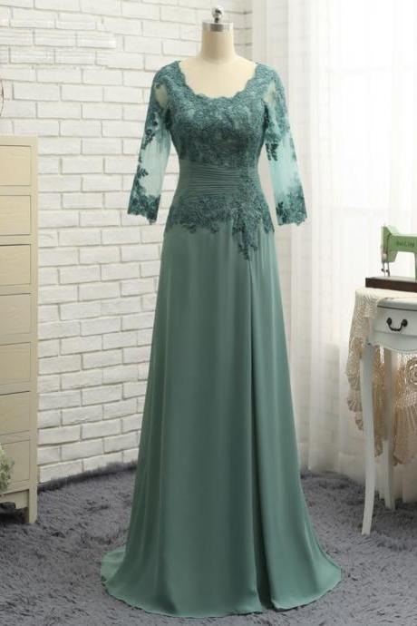 A-line V-neck Plus Size Green 2017 Mother Of The Bride Dresses