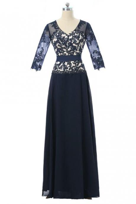 A-line V-neck Half Sleeves Navy Blue 2017 Mother Of The Bride Dresses