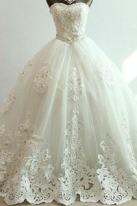 Long Ball Gown Lace Bridal Wedding Dresses Formal Chapel Length Beading Applique