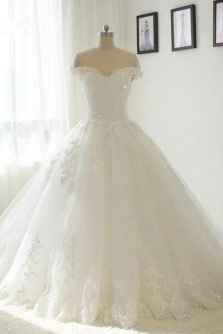 Off Shoulder Beautiful New Lace Wedding Dress 2017