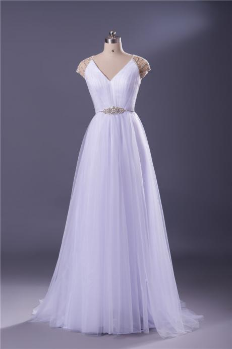 Cap Sleeves V Neck A Line Tulle Overlay Long Bridal Gown Women Formal Dress Custom Made