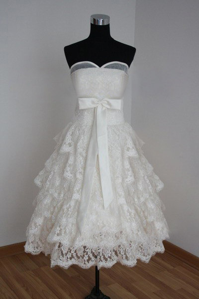 Tea Length Formal Sweetheart Long Ball Gown Lace Bridal Wedding Dresses Ball Gown