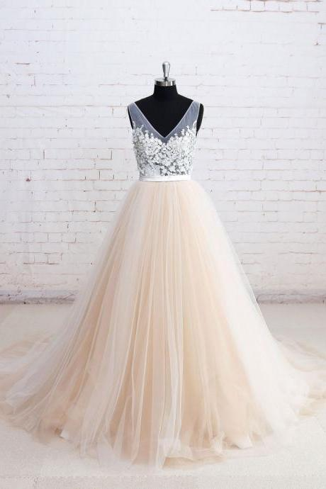V-neck See-through Bodice Champagne Tulle Wedding Dresses with Chapel Train