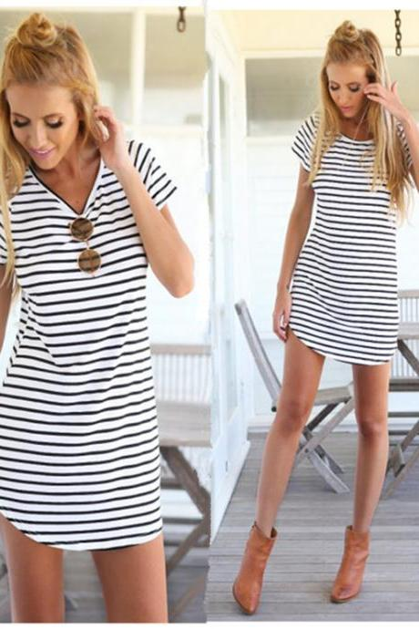 Black White Striped Short T-Shirt Dress