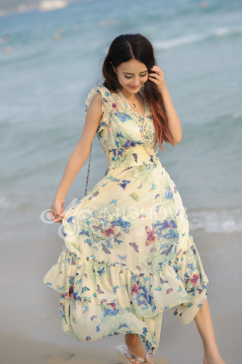 Floral Chiffon Dress Bohemian Beach Dress