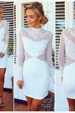 Long Sleeves Mesh Hollow-Out Patchwork White Lace Sheath Mini Dress