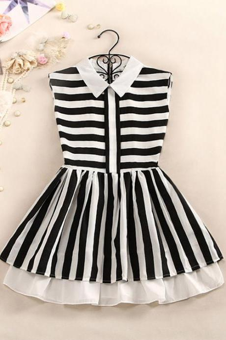 Stripes Print Dress With Peter Pan Collar