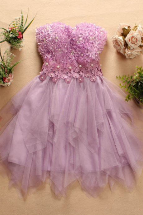 The new beads three-dimensional flower lace the irregular swing strapless dress