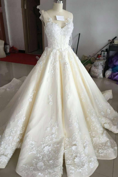 Ball Gown Wedding Dress, V Neck Wedding Gown, Sexy Bridal Dresses