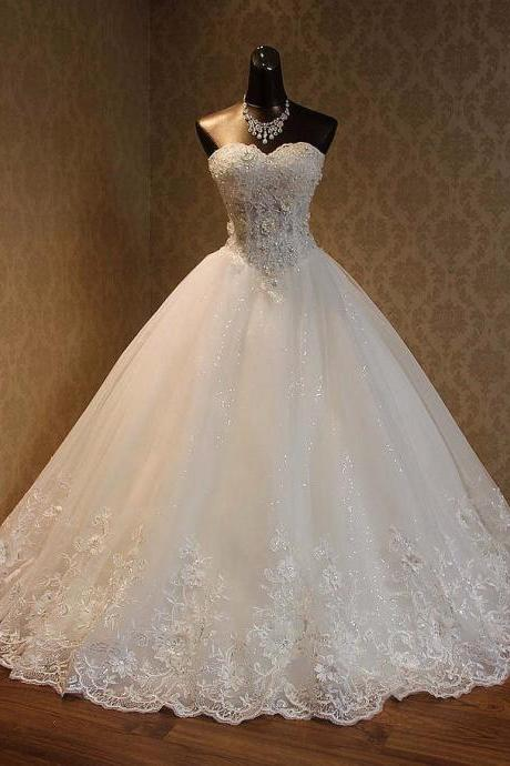 Appliques Lace Wedding Dress,Sweep Train Bridal Gowns Custom Made Wedding Dresses