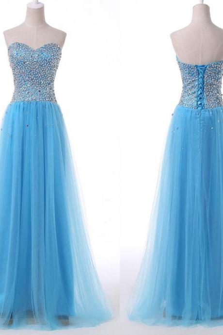 Sweetheart Prom Dresses,Formal Dresses 2018,Sky Blue Party Dress